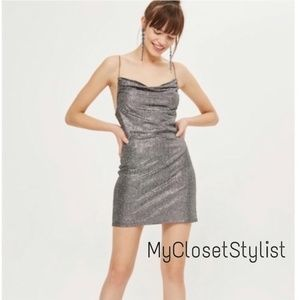 TopShop RARE Silver METALLIC Prom Mini Dress!6 NWT